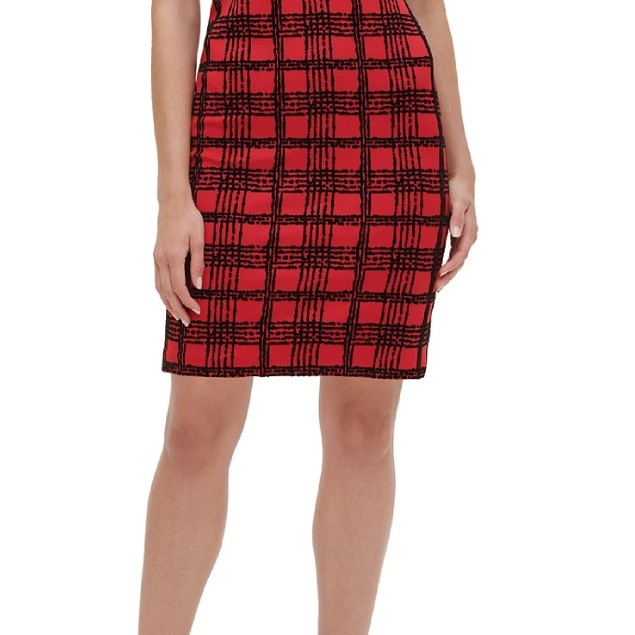 Tommy Hilfiger Women's Velvet Flocked Plaid Scuba Dress Red Size 4