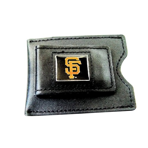 MLB SAN Francisco Giants Black Leather Money Clip Card Holder
