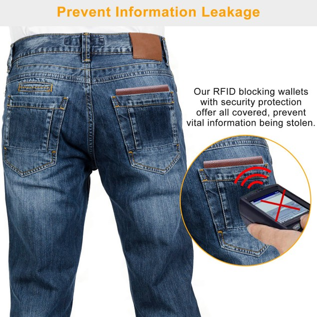 Men's Wallet PU Leather Bifold Purse Slim RFID Blocking Case