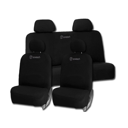 Zone Tech 8pc Set Black Integrated Matching Bench High Back Seat Covers