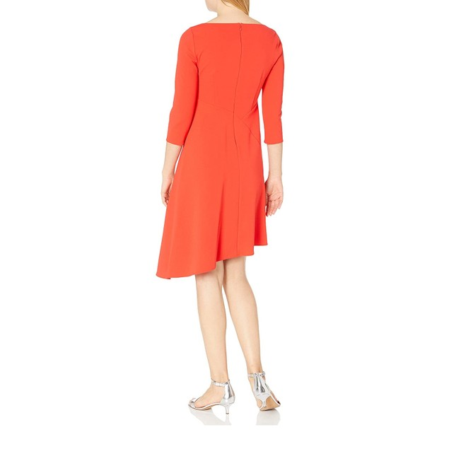 Vince Camuto Women's 3/4-Sleeve Asymmetric A-Line Dress Wine/Red Size 14