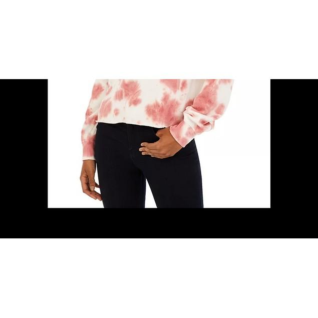 Hippie Rose Junior's Tie Dye Cropped Sweatshirt Dark Red Size Medium