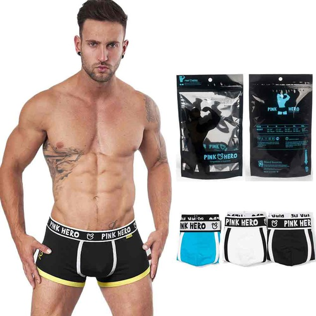 PINK HEROES 3PC Mens Underwear Shorts Men Boxers Underpants Soft Briefs