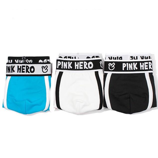 PINK HEROES 3PC Mens Underwear Shorts Men Boxers Underpants Soft Briefs