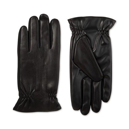 Isotoner Signature Men's Sleekheat Faux Nappa Gloves Black Size Large