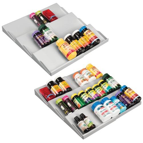 mDesign Plastic Bathroom Slanted Vitamin Storage Drawer Organizer, 2 Pack