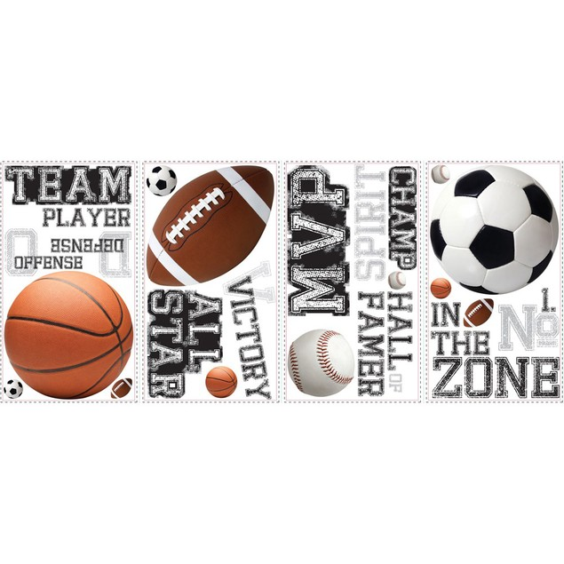 Roommates Baby Room Wall Decorative All Star Sports Sayings Wall Decals