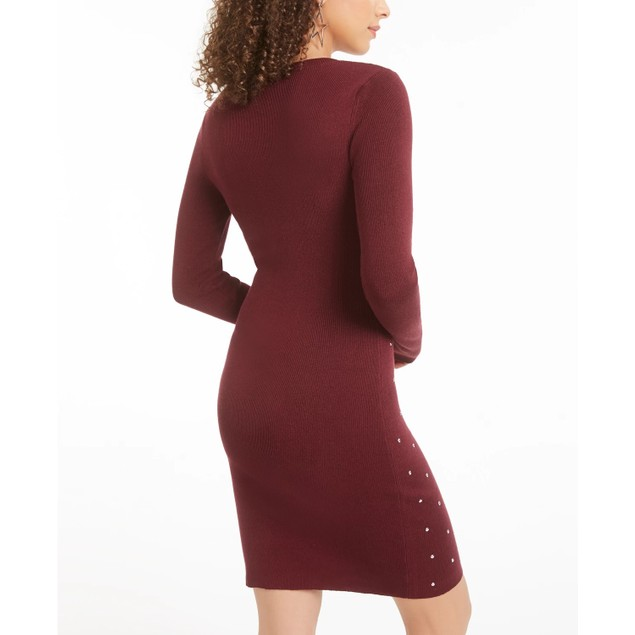 Planet Gold Juniors' Studded Bodycon Dress Red Size X-Large