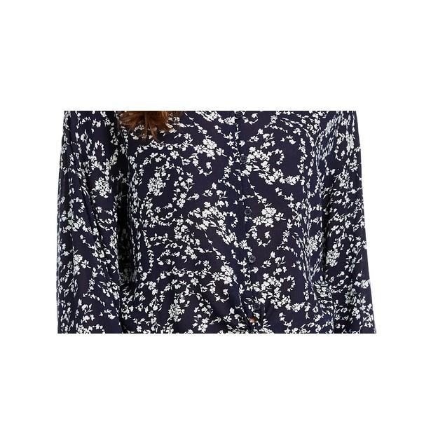 Freshman Junior's Floral Print Tie Waist Blouse Bright Blue Size X-Small