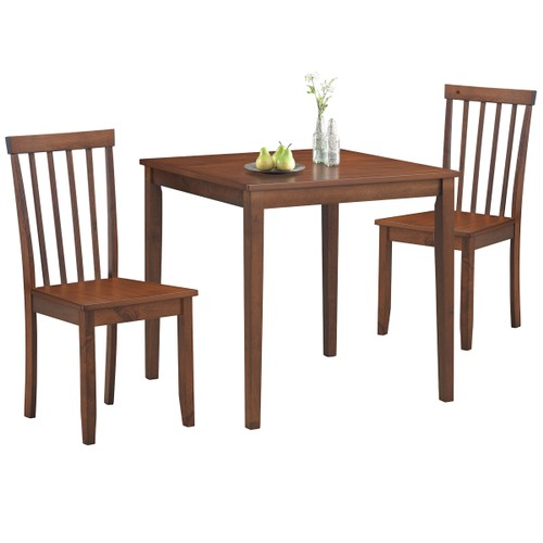 Costway 3-Piece Dining Table Set 2 Slat Back Chairs with Wood Leg Kitchen F