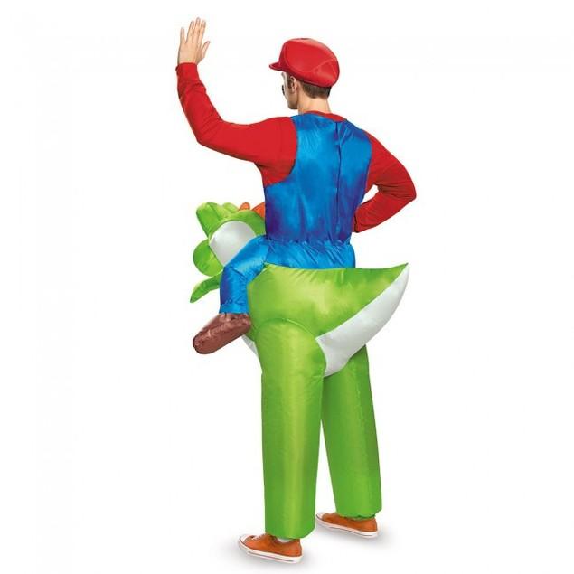 Mario Riding Yoshi Inflatable Adult Costume Super Mario Bros Nintendo Green