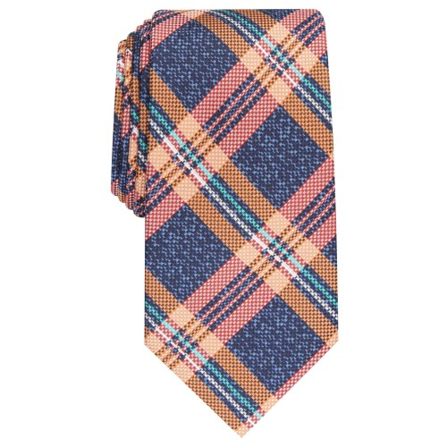 Perry Ellis Men's Duxbury Classic Plaid Tie Orange One Size