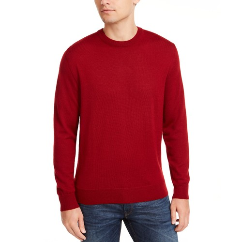 Club Room Men's Solid Crew Neck Merino Wool Blend Sweater Red Size XX-Large