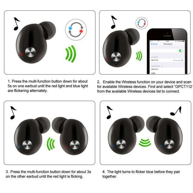 TWS True Wireless V4.2 Earbuds IPX4 In-ear stereo Earphone