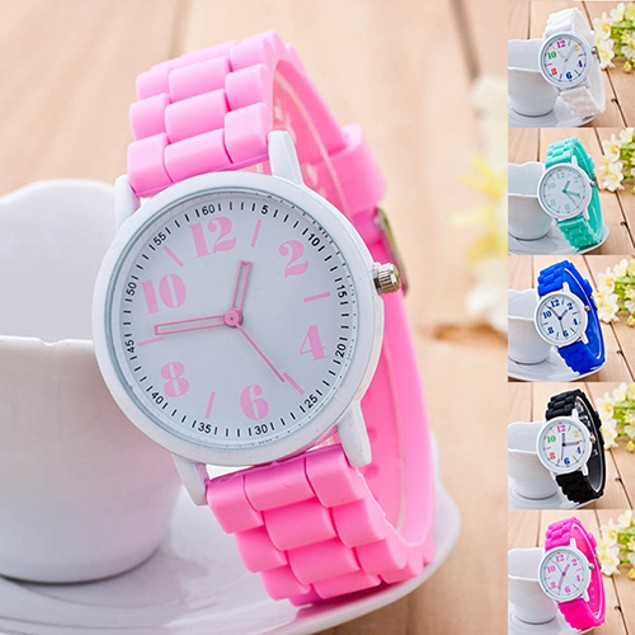 Kids Fashion Silicone Strap Arabic Number Quartz Wrist Watch