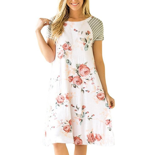 Striped Sleeve Floral Dress