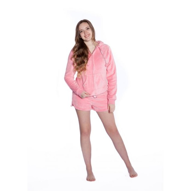 Pink Plush Hoodie with Shorts Baby Blanket Womens Hooded PJs