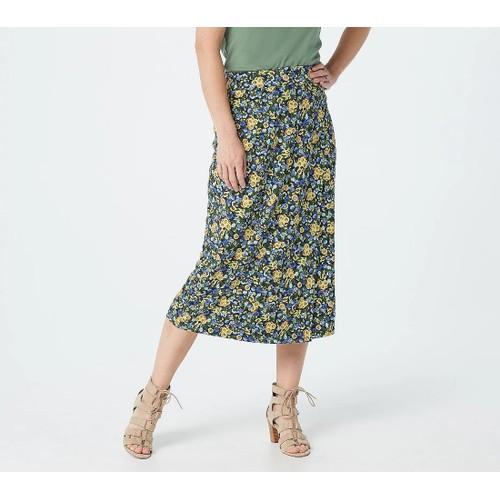 Isaac Mizrahi Live! Printed Ditsy Floral Faux Wrap Knit Midi Skirt, Medium,