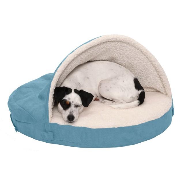 FurHaven Orthopedic Round Faux Sheepskin Snuggery Burrow Pet Bed