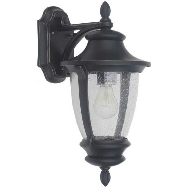 Home Decorators Collection Outdoor 1-Light Wall Mount Lantern Sconce, Black