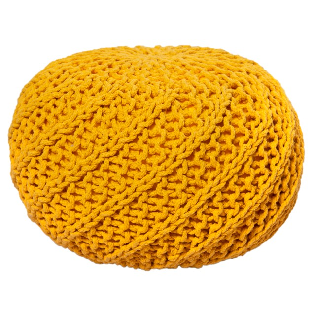 Knitted Round Foot Stool Candy Kane 100% Cotton Ottoman Braided Pouf