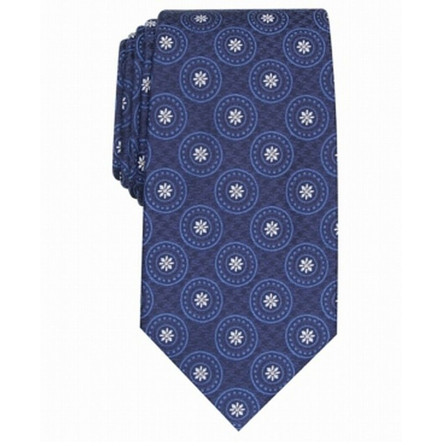 Tasso Elba Men's Medallion Silk Tie Navy Size Regular