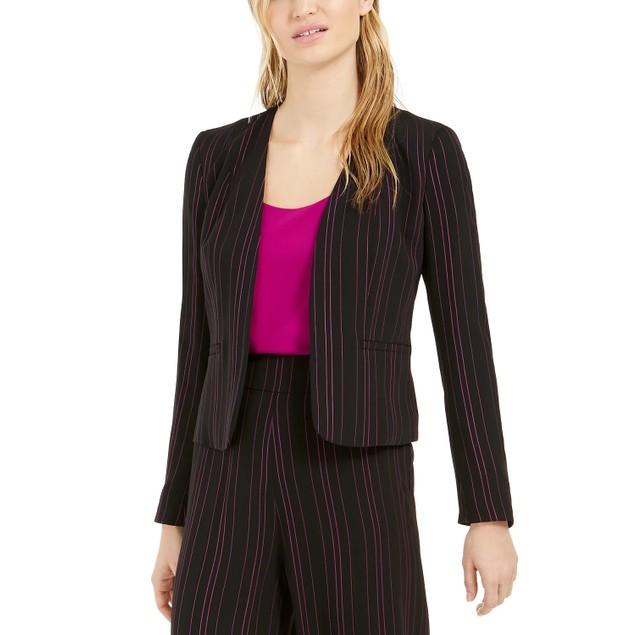 Bar III Women's Striped Open-Front Jacket Black Size Small