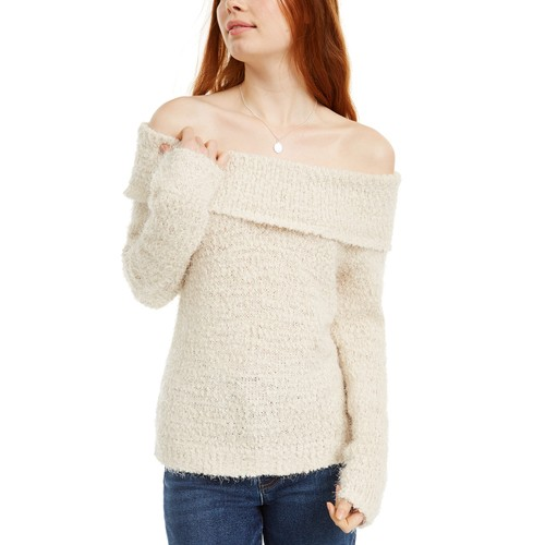 Freshman Juniors' Off-The-Shoulder Fuzzy Sweater Beige Size Large