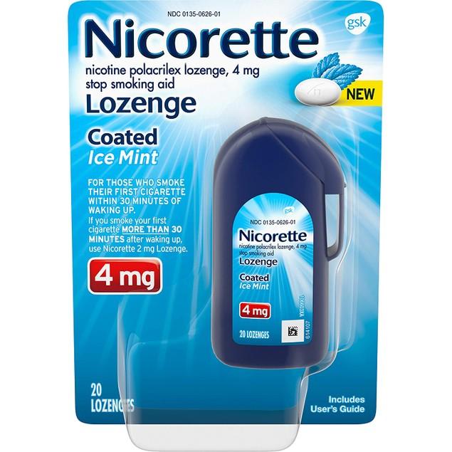 Nicorette Coated Nicotine Lozenge Stop Smoking Aid, Ice Mint Flavor, 20 Ct