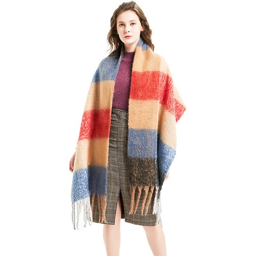 Women's Thick Thick Fringed Plaid Scarf