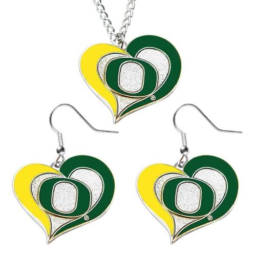 Oregon Ducks Swirl Heart Dangle Logo Necklace and Earring
