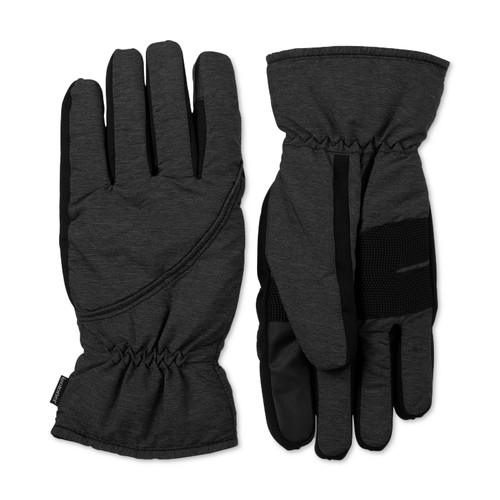 Isotoner Signature Men's Sleek Heat Waterproof Gloves Black Size Medium