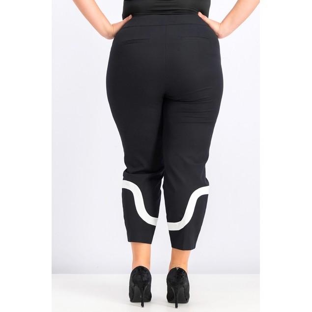 Alfani Women's Petite Colorblocked Ankle Pants Black Size 14