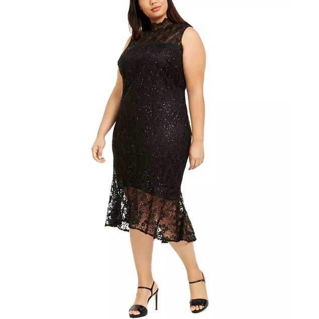 Calvin Klein Women's Plus Mock Neck Lace Dress Black Size 18W