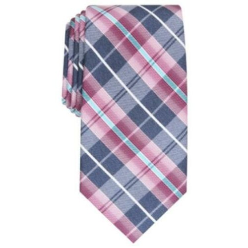 Perry Ellis Men's Dever Classic Plaid Tie Med Purple Size Regular