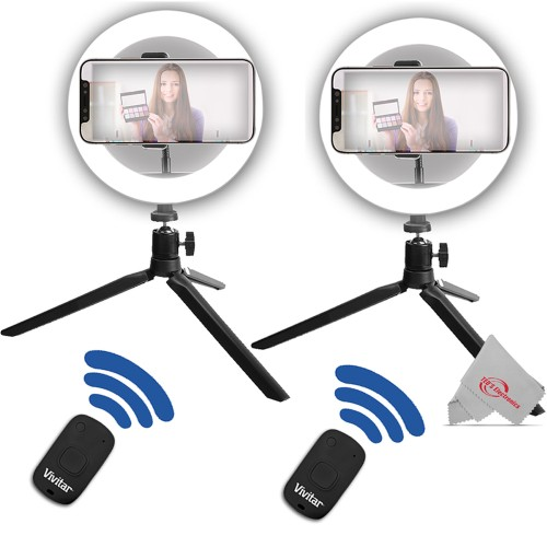 Two Pack Vivitar 8 Inch LED Ring Light Dimmable Lamp for Iphone Smartphone with Tripod Mount Stand + Two Pack Shutter Release + Tall Tripod