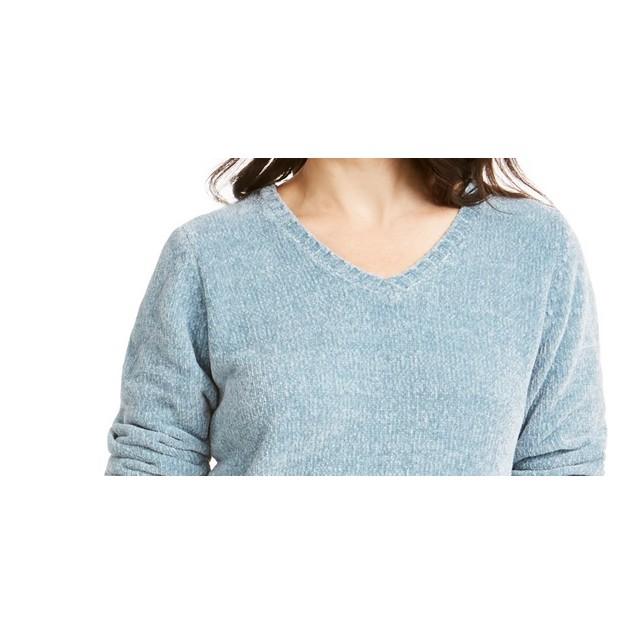 Karen Scott Women's V Neck Chenille Sweater Dark Blue Size Large