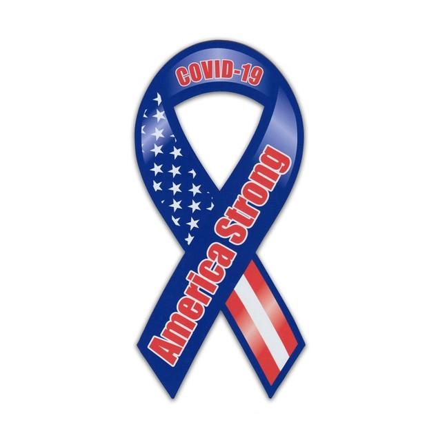 Coronavirus From America: Ribbon Car Magnet, Coronavirus COVID-19 Support, America