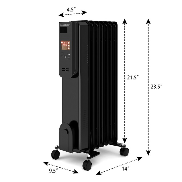 Costway 1500W Electric Oil Filled Radiator Heater LCD 7-Fin Timer w/ Remote