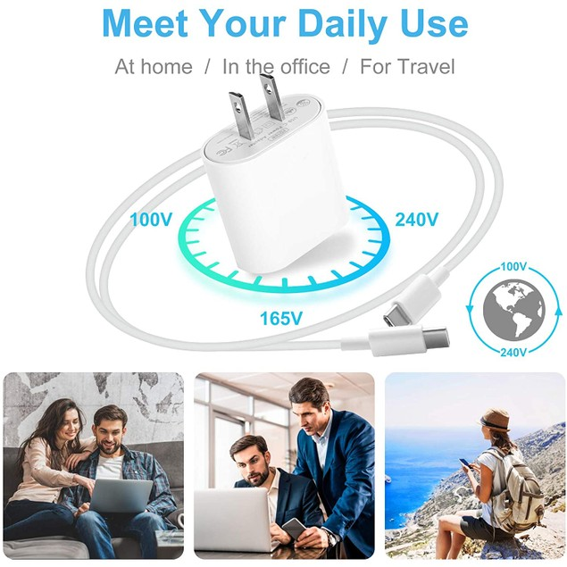 18W USB C Fast Charger by NEM Compatible with Samsung Galaxy S8 - White