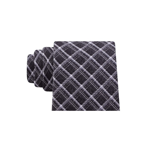 Michael Kors Men's Fuzzy Diamond Grid Neck Tie Black Size Regular