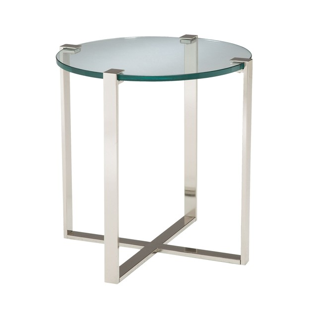 Sterling Uptown Side Table - Polished Nickel - Clear Glass