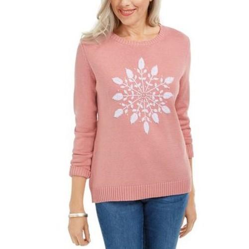 Karen Scott Women's Snowflake Applique Sweater Pink Size Small