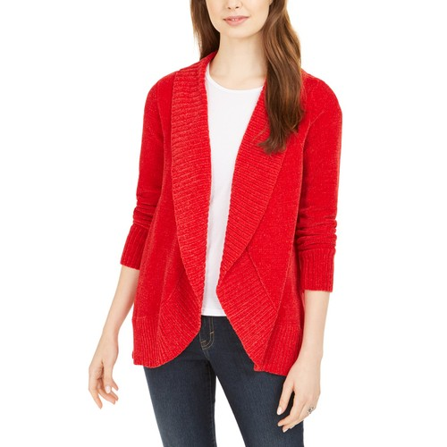 Style & Co Women's Petite Chenille Shawl-Collar Cardigan  Red Size PM