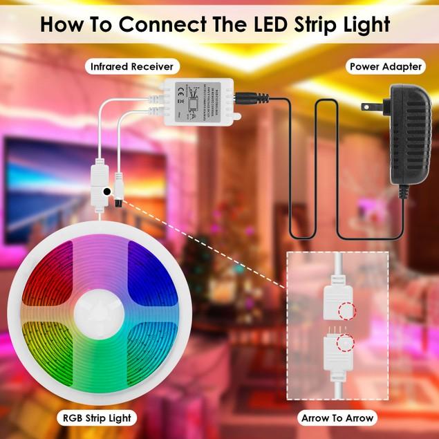 LED Strip Lights 16.4FT 150 LEDs RGB Color Changing Lamp