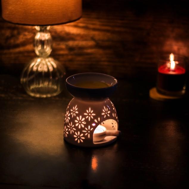 Ceramic Oil Burners - Set of 2 | MandW Star and Flower