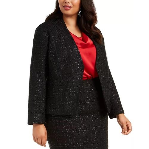 Calvin Klein Women's Plus Tweed Jacket Black Size 22W