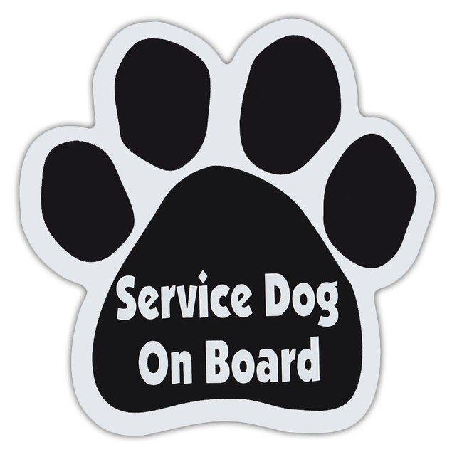 Service Dog On Board Paw Magnet