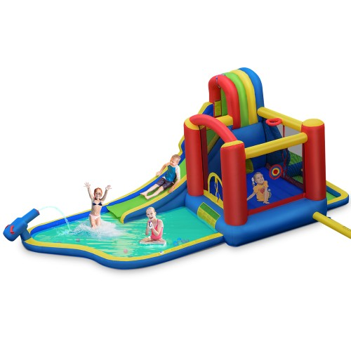 Costway Inflatable Kid Bounce House Slide Climbing Splash Pool Jumping Cast