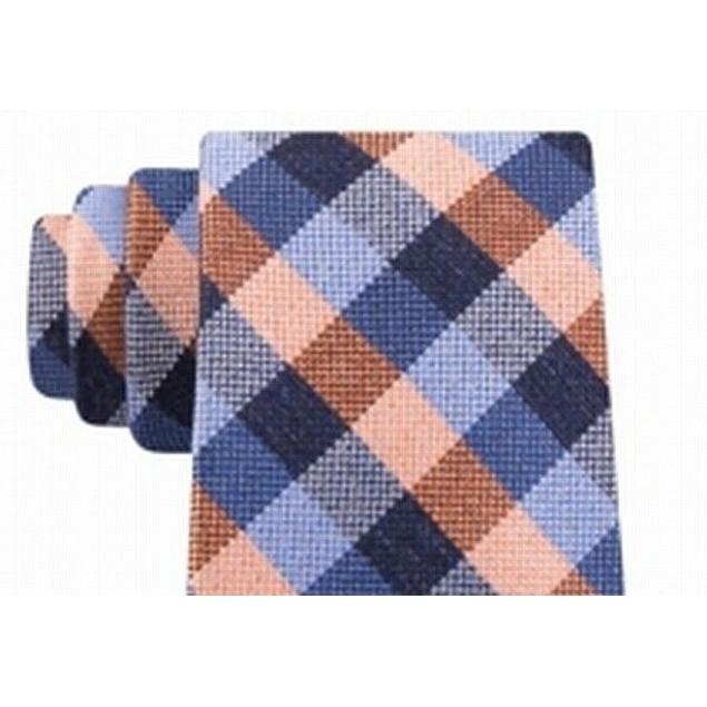 Michael Kors Men's Classic Gingham Check Tie Orange Size Regular